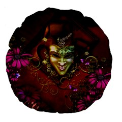 Wonderful Venetian Mask With Floral Elements Large 18  Premium Flano Round Cushions