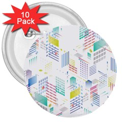 Layer Capital City Building 3  Buttons (10 Pack)