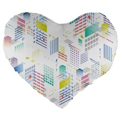 Layer Capital City Building Large 19  Premium Heart Shape Cushions