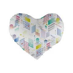 Layer Capital City Building Standard 16  Premium Flano Heart Shape Cushions