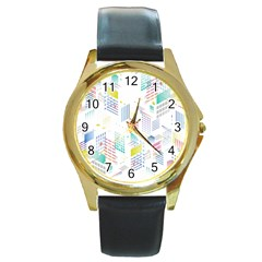 Layer Capital City Building Round Gold Metal Watch