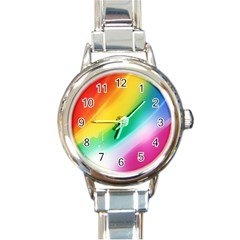 Red Yellow White Pink Green Blue Rainbow Color Mix Round Italian Charm Watch