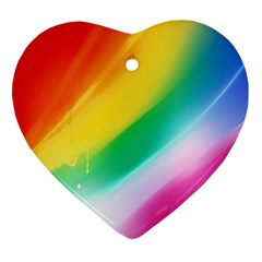 Red Yellow White Pink Green Blue Rainbow Color Mix Ornament (heart)