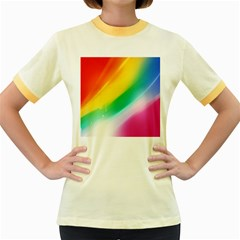 Red Yellow White Pink Green Blue Rainbow Color Mix Women s Fitted Ringer T Shirts