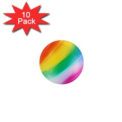 Red Yellow White Pink Green Blue Rainbow Color Mix 1  Mini Magnet (10 Pack)