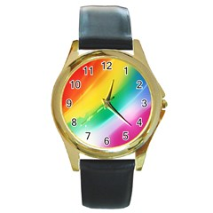 Red Yellow White Pink Green Blue Rainbow Color Mix Round Gold Metal Watch