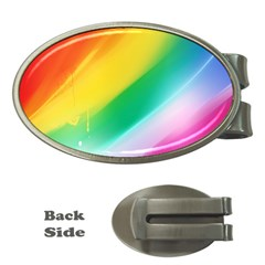 Red Yellow White Pink Green Blue Rainbow Color Mix Money Clips (oval)