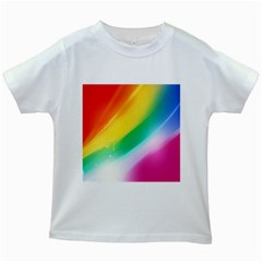 Red Yellow White Pink Green Blue Rainbow Color Mix Kids White T Shirts