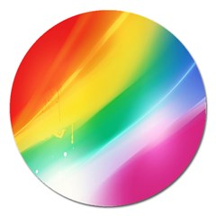 Red Yellow White Pink Green Blue Rainbow Color Mix Magnet 5  (round)