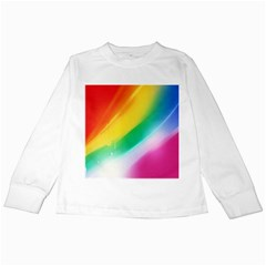 Red Yellow White Pink Green Blue Rainbow Color Mix Kids Long Sleeve T Shirts