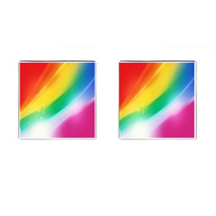 Red Yellow White Pink Green Blue Rainbow Color Mix Cufflinks (square)