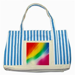 Red Yellow White Pink Green Blue Rainbow Color Mix Striped Blue Tote Bag