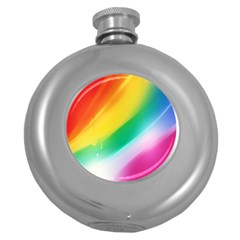 Red Yellow White Pink Green Blue Rainbow Color Mix Round Hip Flask (5 Oz)