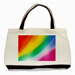 Red Yellow White Pink Green Blue Rainbow Color Mix Basic Tote Bag (two Sides)