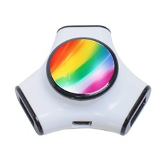Red Yellow White Pink Green Blue Rainbow Color Mix 3 Port Usb Hub