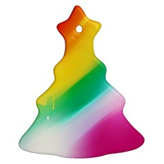 Red Yellow White Pink Green Blue Rainbow Color Mix Christmas Tree Ornament (two Sides)