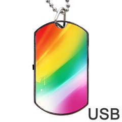 Red Yellow White Pink Green Blue Rainbow Color Mix Dog Tag Usb Flash (one Side)