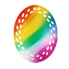 Red Yellow White Pink Green Blue Rainbow Color Mix Ornament (oval Filigree)