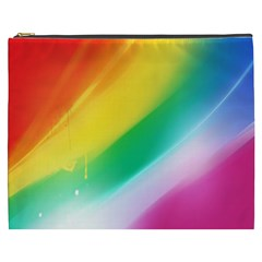 Red Yellow White Pink Green Blue Rainbow Color Mix Cosmetic Bag (xxxl)