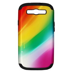 Red Yellow White Pink Green Blue Rainbow Color Mix Samsung Galaxy S Iii Hardshell Case (pc+silicone)