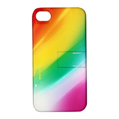 Red Yellow White Pink Green Blue Rainbow Color Mix Apple Iphone 4/4s Hardshell Case With Stand