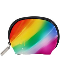 Red Yellow White Pink Green Blue Rainbow Color Mix Accessory Pouches (small)