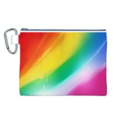 Red Yellow White Pink Green Blue Rainbow Color Mix Canvas Cosmetic Bag (l)