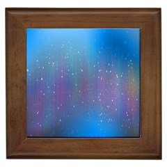 Rain Star Planet Galaxy Blue Sky Purple Blue Framed Tiles