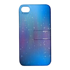 Rain Star Planet Galaxy Blue Sky Purple Blue Apple Iphone 4/4s Hardshell Case With Stand