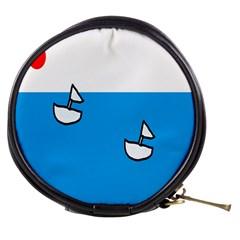 Ship Sea Beack Sun Blue Sky White Water Mini Makeup Bags