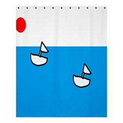 Ship Sea Beack Sun Blue Sky White Water Shower Curtain 60  X 72  (medium)