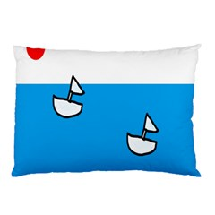 Ship Sea Beack Sun Blue Sky White Water Pillow Case (two Sides)