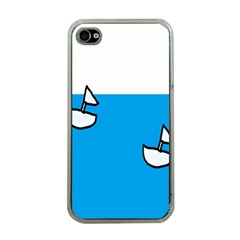 Ship Sea Beack Sun Blue Sky White Water Apple Iphone 4 Case (clear)