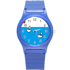 Ship Sea Beack Sun Blue Sky White Water Round Plastic Sport Watch (s)