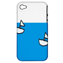 Ship Sea Beack Sun Blue Sky White Water Apple Iphone 4/4s Hardshell Case (pc+silicone)
