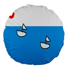 Ship Sea Beack Sun Blue Sky White Water Large 18  Premium Flano Round Cushions