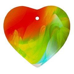 Red Yellow Green Blue Rainbow Color Mix Ornament (heart)