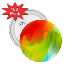 Red Yellow Green Blue Rainbow Color Mix 2 25  Buttons (100 Pack)