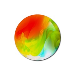 Red Yellow Green Blue Rainbow Color Mix Rubber Coaster (round)