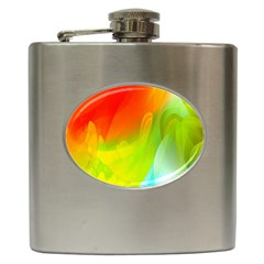 Red Yellow Green Blue Rainbow Color Mix Hip Flask (6 Oz)