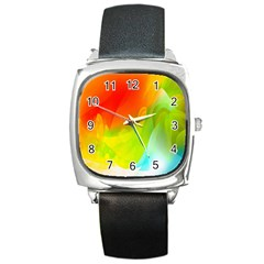Red Yellow Green Blue Rainbow Color Mix Square Metal Watch