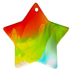 Red Yellow Green Blue Rainbow Color Mix Star Ornament (two Sides)