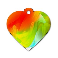 Red Yellow Green Blue Rainbow Color Mix Dog Tag Heart (one Side)