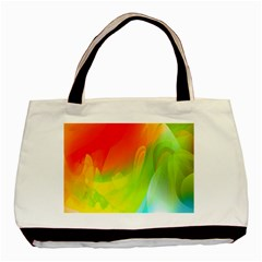 Red Yellow Green Blue Rainbow Color Mix Basic Tote Bag (two Sides)