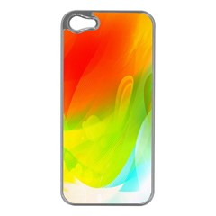 Red Yellow Green Blue Rainbow Color Mix Apple Iphone 5 Case (silver)
