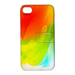 Red Yellow Green Blue Rainbow Color Mix Apple Iphone 4/4s Hardshell Case With Stand
