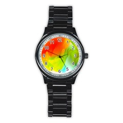 Red Yellow Green Blue Rainbow Color Mix Stainless Steel Round Watch