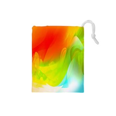 Red Yellow Green Blue Rainbow Color Mix Drawstring Pouches (small)