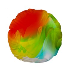 Red Yellow Green Blue Rainbow Color Mix Standard 15  Premium Flano Round Cushions