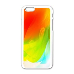 Red Yellow Green Blue Rainbow Color Mix Apple Iphone 6/6s White Enamel Case